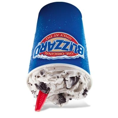 DQ Oreo soft serve ice cream blizzard