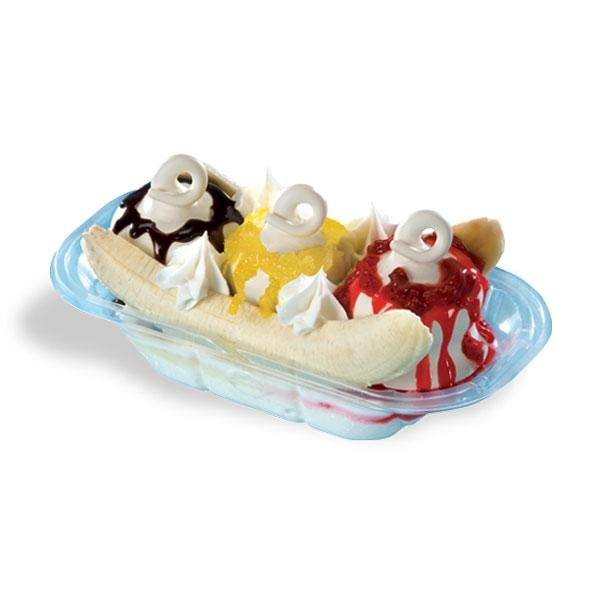 DQ banana split with soft serve ice cream